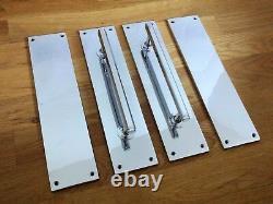Poignées De Traction Chrome Art Déco (paires) + Poignées De Plaques Push Porte Doigt Grab Large
