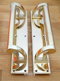 Poignées De Traction De Porte En Laiton (paires) Art Déco Large Plates Knobs Push Grab Edwardian