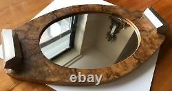 Rare André Sornay Bauhaus Fruitwood Mirrored Tray With Chrome Handles, Vers 1930