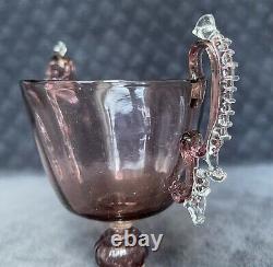 Rare Antique Salviati Murano Poignées Appliquées Optic Cranberry Glass Loving Cup