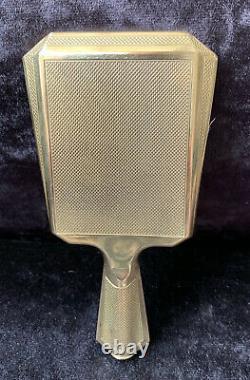 Rare Art Deco Rétroviseur De Main Autrichien Powder Compact Avec Poignée De Rouge À Lèvres Cachée