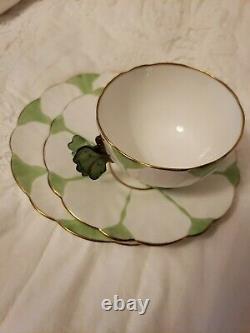Rare Deco Aynsley Poignée De Papillon Trio Tasse De Thé Saucer Et Plaque Vert