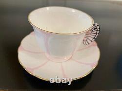 Rare Deco Aynsley Rose Poignée De Papillon Tea Cup & Saucer Set