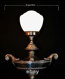 Rare Lampe De Table Aladdin Plaqué Argent Argenté Des Années 1940