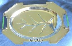 Rare Rockford Sheets Déco Art Moderne Déco Green Catalin Handle Silver Platter