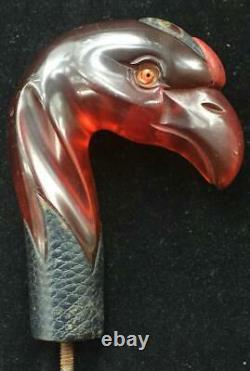 Rare Vintage Art Deco Ambre Bakelite Phoenix Bird Poignée De Bâton De Marche