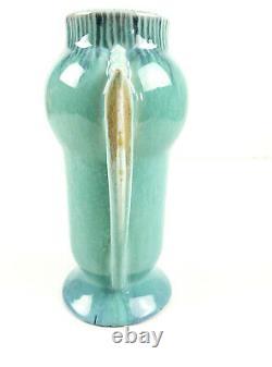 Roseville Potterie Art Déco Orian Orion Turquoise Double Poignée Vase 733-6