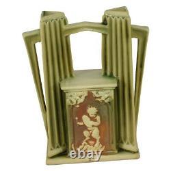 Roseville Pottery Donatello Double Bud Art Deco Vase À Poignées