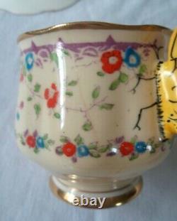 Royal Albert Gaiety Papillon Poignée Soucoupe Vintage Fleur Aile Couronne Années 1930