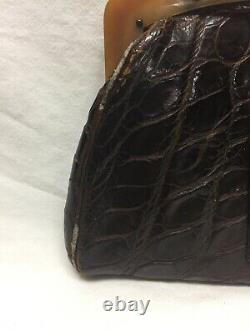 Sac D'embrayage Vintage Crocodile Avec Poignée Bakelite Années 30 Art Déco