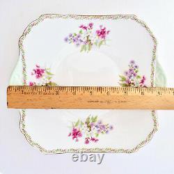 Shelley Stocks Square Cake Plate Gainsborough Green Tab Poignées Laurel Rim Vtg