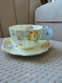Soucoupe Antique De Tasse Florale De Papillon De Fleur Parangon Rare