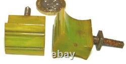 Splendid Set X 6 Green Bakelite Art Déco Tiroirs De Coffre Tirer Poignées Années 1920