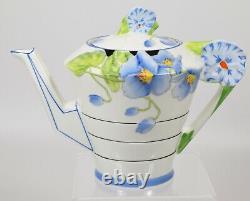 Stupéfiant & Art Rare Déco Royal Paragon Blue Poppy Flower Handle Théière & Stand