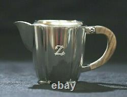 Suédois Sterling Silver Art Déco Wood Handle Nordisk Silverkonst Coffee Set 1955