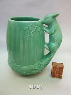 Sylvac Made In England Ceramic Acorn Green Jug Squirrel Poignée Art Deco Vgc