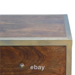 Table De Chevet Art Déco Style Bois Foncé Et Or Avec 2 Tiroirs Et Poignées En Or