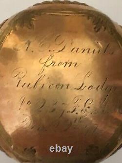 Tête De Canne Dorée Vintage Marquée En 1947 Avec Inscription