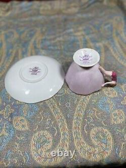 Ultra Rare Hammersley Tea Cup & Soucoupe Main Peinte En Rose Avec Poignée De Nageur