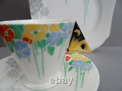 Un Superbe Shelley Art Déco Butterfly Handle 11757 Mode Forme Trio De Thé. C. En 1930