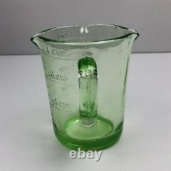Uranium Vaseline Vintage Dépression Verre Mesure Jug Poignée Mesures