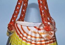 Vase De Panier À Poignées En Verre Rayé Vintage Murano Blown À La Main