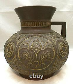 Vase En Bronze Lourd Meiji Art Déco Japonais Avec Main De Yoshima Boshu
