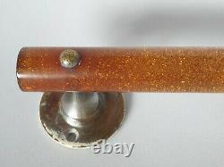 Vieille Antique Amber Glitter Bakelite Phénolique Lucite Pull Door Poignée De Porte
