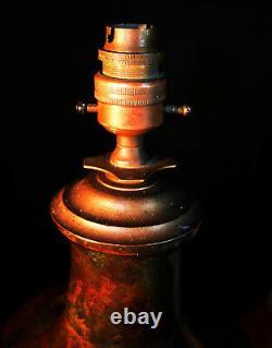 Vintage Années 1930 Français Empire Coulé Bronze 2-manipulé Urne Lampe De Luxe Ombre De Luxe