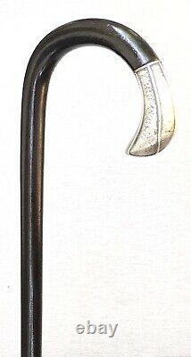 Vintage Antique Art Déco Sterling Silver Crook Poignée Walking Stick Cane Old
