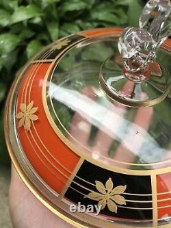 Vintage Art Déco 1950s 60s Candy Dish Fleur De Lis Poignée