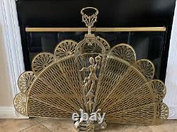 Vintage Art Deco Écran De Cheminée Laiton Orné Peacock Eventail Rare 45 Span