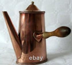 Vintage Art Déco Ovale Cuivre Café Au Lait Pot De Chocolat / Boîte Avec Poignée En Bois