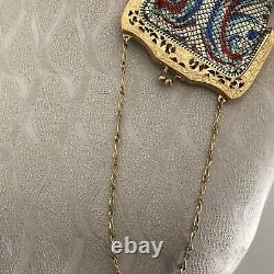 Vintage Enameled Mesh Purse Goldtone Frame Chain Poignée Poignée