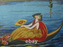 Vintage Large Art Nouveau Deco Serving Tray Handles- Antique Harlequin Litho