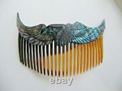 Vintage Rare Art Déco Ormeau Paua Nacre Aigle Peigne Glisser
