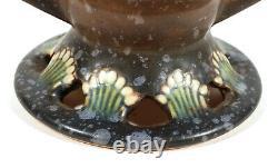 Vintage Roseville Art Déco Ohio Potterie Marron Ferella Vase Avec Poignées 502-6