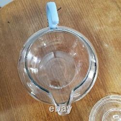 Vinture Tres Rare 40s Pyrex Teafort Avec Main-d'oeuvre De Delphite Blue Canadien