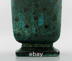 Wilhelm Kage, Gustavsberg, Argenta Art Déco Grand Vase Avec Poignées